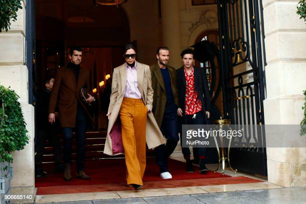 Brooklyn Beckham Victoria Beckham and David Beckham are seen leaving the Ritz hotel in Paris France on January 18 2018 They go to Louis Vuitton...