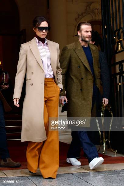 Brooklyn Beckham, Victoria Beckham and David Beckham are seen leaving the Ritz hotel in Paris, France on January 18, 2018. They go to Louis Vuitton...