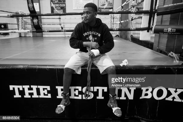 Brooklyn born middleweight boxer Daniel Jacobs trains at a gym and visits the neighborhood where he grew up in Brownsville on May 18 2016 in Brooklyn...