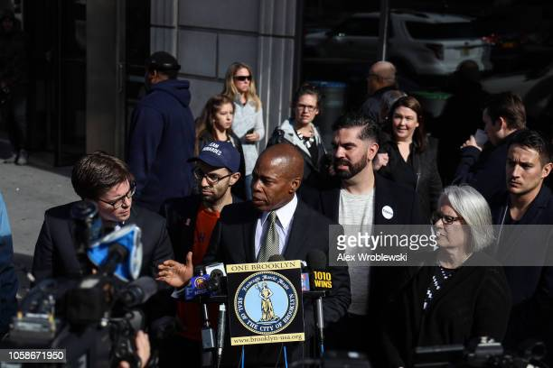 Brooklyn Borough President Eric Adams holds a news conference regarding New York City's midterm election polling station issues on November 7 2018 in...