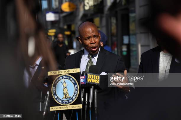 Brooklyn Borough President Eric Adams holds a news conference regarding New York City's Midterm Elections polling stations issues on November 7 2018...