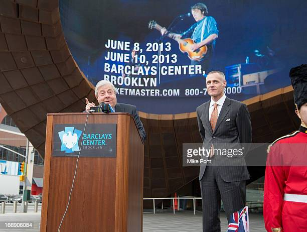 Brooklyn Borough President Marty Markowitz and Barclays Center and Brooklyn Nets CEO Brett Yormark attend the announcement of Paul McCartney's return...