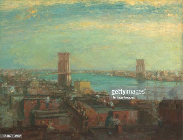 Brooklyn Bridge, 1899. Suspension bridge over the East River, New York City. Artist Henry Ward Ranger.