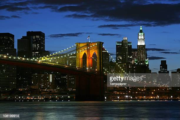 Brooklyn Bridge and Downtown Skyline at Night