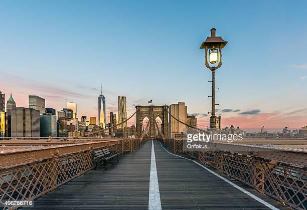 Brooklyn Bridge and Lower Manhattan at Sunrise, New York City