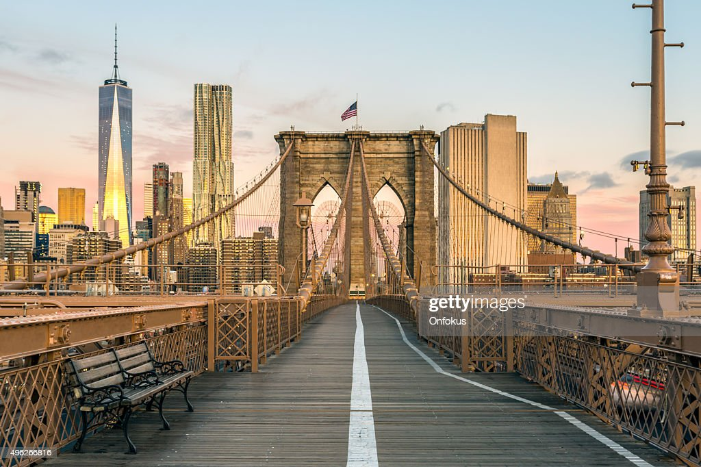 Brooklyn Bridge And Lower Manhattan At Sunrise New York City