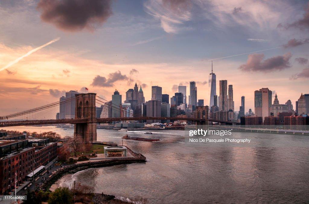 Brooklyn Bridge and Lower Manhattan : Stock Photo