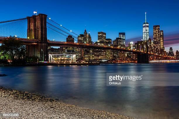 Brooklyn Bridge and Manhattan at Sunset, New York City