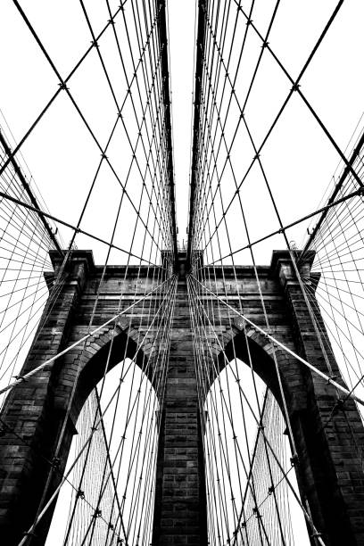 Brooklyn Bridge architecture in black and white