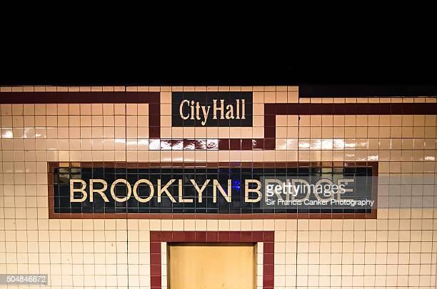 Brooklyn Bridge City Hall Metro station interior sign, New York City, USA