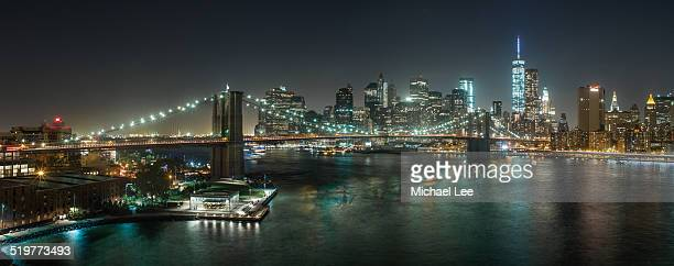 Brooklyn Bridge Elevated View Night Panorama