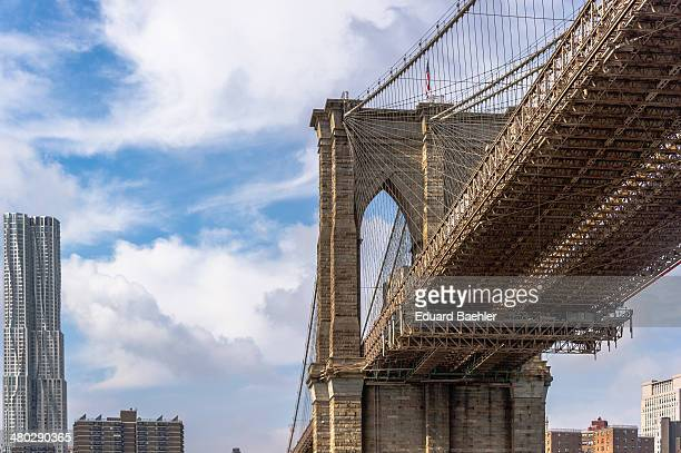 CONTENT] Brooklyn bridge from low perspective towards Manhattan with cloudy sky in the background