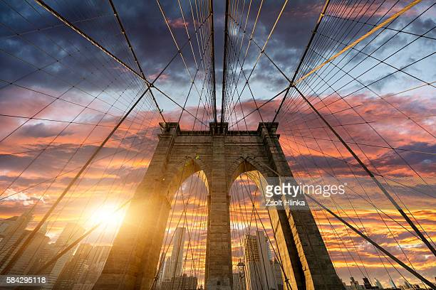 Brooklyn Bridge in sunset - New York - USA