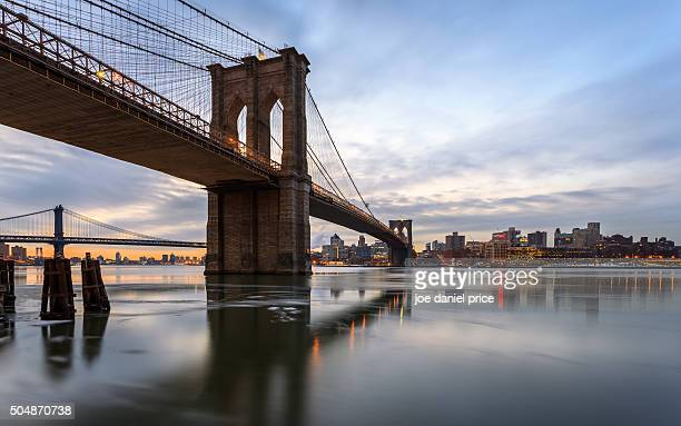 brooklyn bridge, manhattan bridge, east river, lower manhattan facing brooklyn, new york city, new york, america - brooklyn bridge stock pictures, royalty-free photos & images