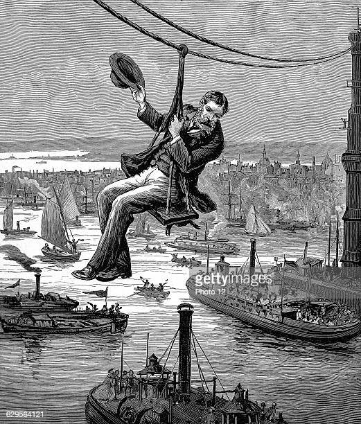 Brooklyn Bridge, New York, opened 1883: E.F. Farrington, master mechanic, testing the first span of wire cables. Wood engraving c. 1900.