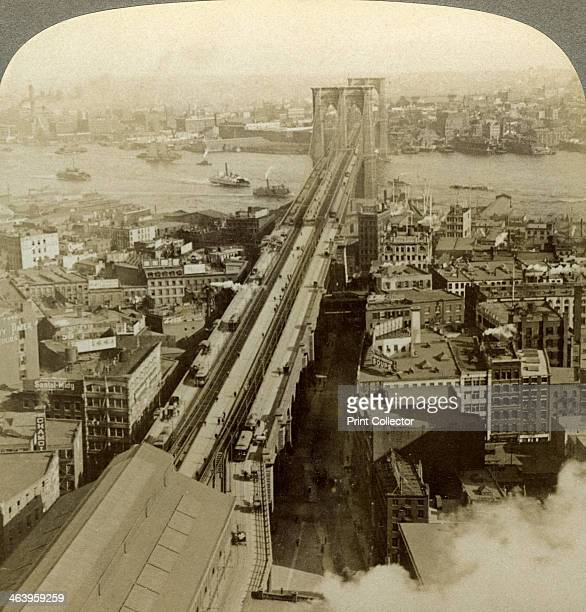 Brooklyn Bridge New York USA Designed by John Augustus Roebling the Brooklyn Bridge over the East River was heralded as one of the most important...