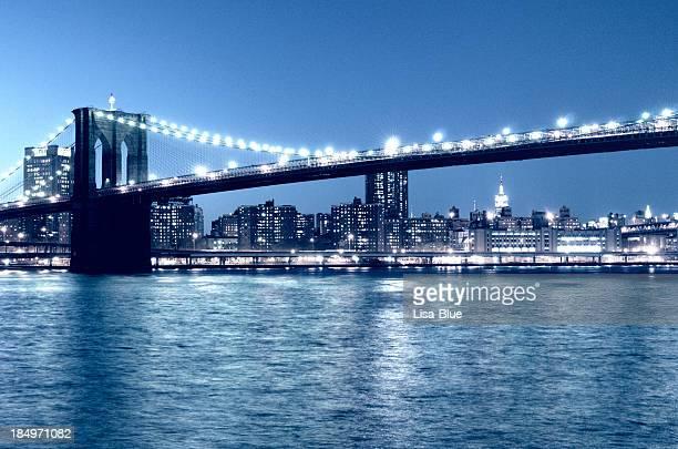 Brooklyn Bridge Night, NYC. Blue Toned