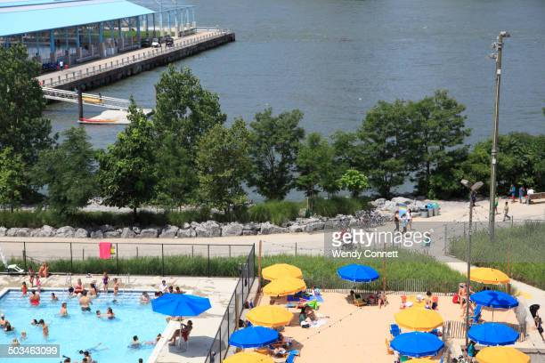 Brooklyn Bridge Park Pop Up Beach and Pool East River Brooklyn New York City USA