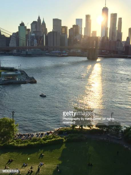Brooklyn Bridge Park viewed from above at sunset