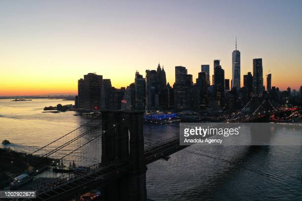 Brooklyn Bridge seen during sunset from Brooklyn side in New York, United States on February 23, 2020.
