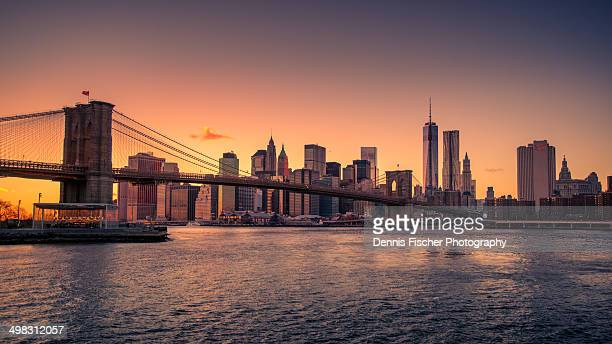 brooklyn bridge sunset - national_historic_landmark stock pictures, royalty-free photos & images