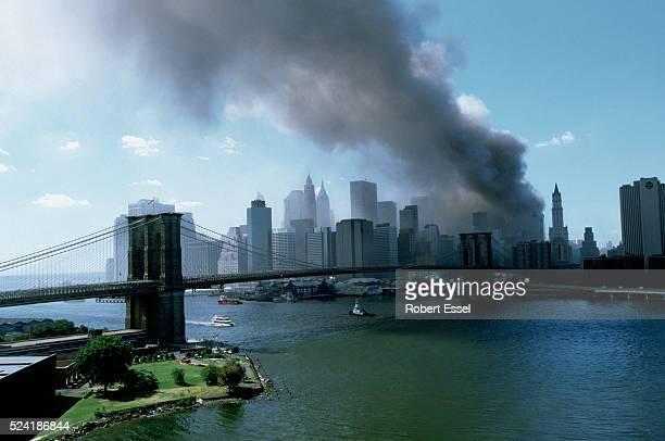 Brooklyn Bridge with Twin Towers disaster