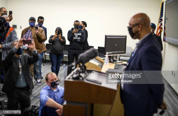 Brooklyn Center City Manager Curt Boganey speaks during a press conference about the death of 20-year-old Daunte Wright at the Brooklyn Center police...