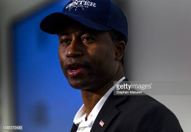 Brooklyn Center Mayor Mike Elliott speaks during a press conference about the death of 20-year-old Daunte Wright at the Brooklyn Center police...