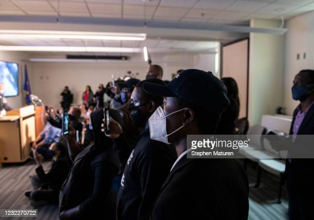 Brooklyn Center Mayor Mike Elliott watches as the body camera footage of the killing of 20-year-old Daunte Wright is played during a press conference...