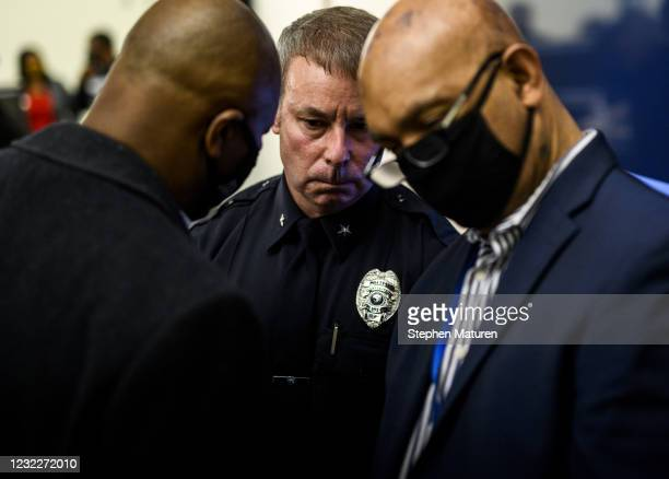 Brooklyn Center Police Chief Tim Gannon attends a press conference regarding the killing of Daunte Wright at the Brooklyn Center police headquarters...