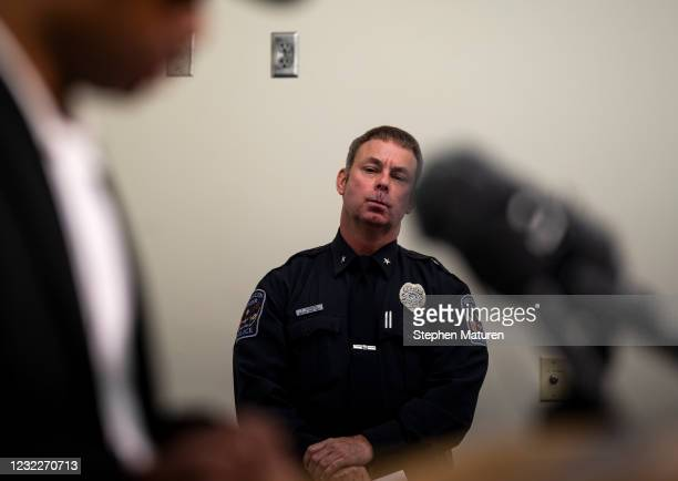Brooklyn Center Police Chief Tim Gannon looks on as Mayor Mike Elliott speaks during a press conference about the death of 20-year-old Daunte Wright...