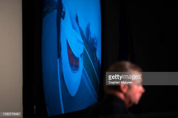 Brooklyn Center Police Chief Tim Gannon looks on as the video of the killing of 20-year-old Daunte Wright is played during a press conference at the...