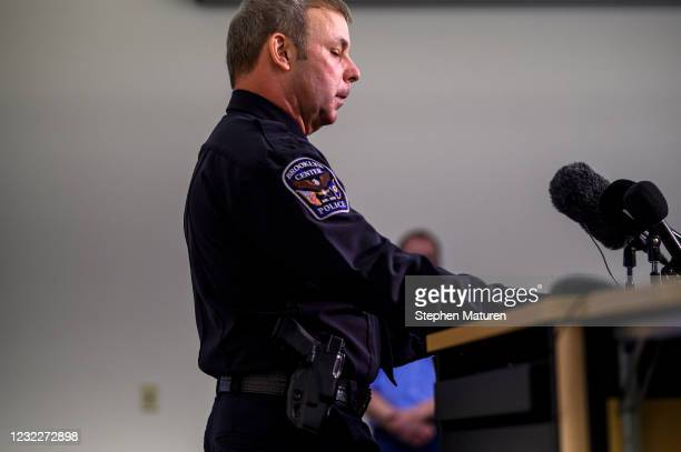 Brooklyn Center Police Chief Tim Gannon speaks during a press conference about the death of 20-year-old Daunte Wright at the Brooklyn Center police...