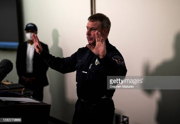 Brooklyn Center Police Chief Tim Gannon takes questions during a press conference about the death of 20-year-old Daunte Wright at the Brooklyn Center...