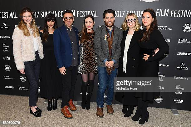 Brooklyn Decker Hannah Simone Fred Armisen director Zoe ListerJones Adam Pally Majandra Delfino and Angelique Cabral attend the Band Aid Premiere at...