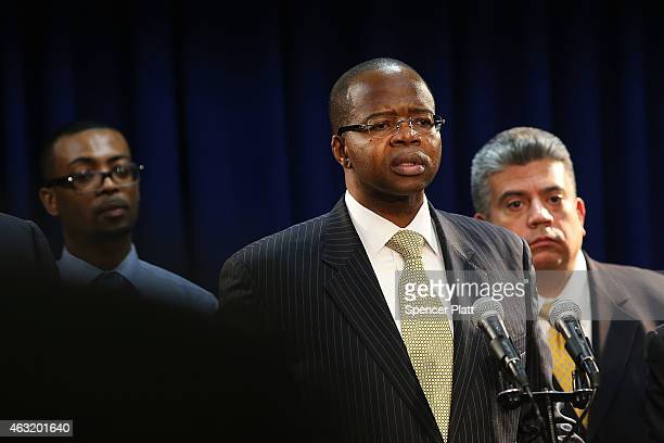 Brooklyn District Attorney Kenneth Thompson speaks at a news conference concerning charges in the death of Akai Gurley by a New York City police...