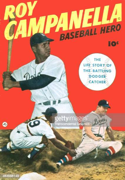 Brooklyn Dodger catcher Roy Campanella appears on the cover of his own comic book from 1952 issued in New York City