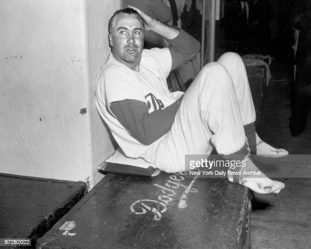 Brooklyn Dodger Duke Snider relaxes after 3rd Game of World Series against New York Yankees