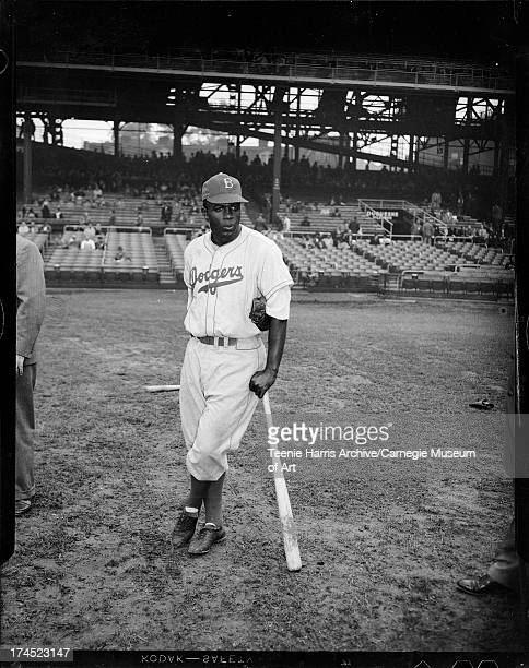 Brooklyn Dodgers baseball player Jackie Robinson at Forbes Field, Oakland, Pittsburgh, Pennsylvania, c. 1947.
