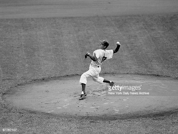 Brooklyn Dodger's Carl Erskine deliverying first pitch of Game 5 against New York Yankees in 1955 World Series
