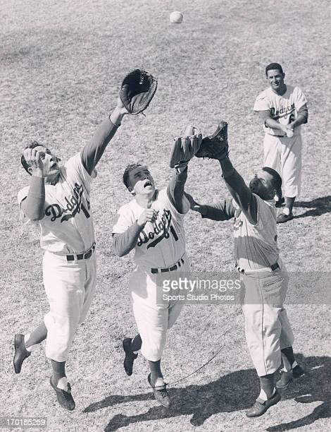 Brooklyn Dodgers Gil Hodges Pee Wee Reese Roy Campanella and Carl Furillo at spring training