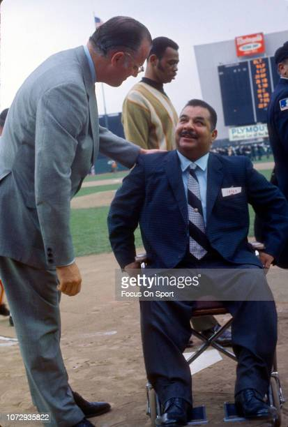 Brooklyn Dodgers great Roy Campanella and baseball commissioner Bowie Kuhn before a 1969 world series game between the Baltimore Orioles and New York...