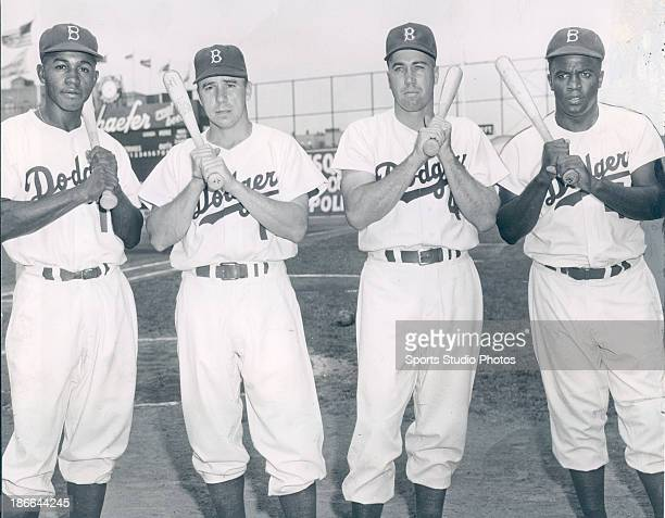 Brooklyn Dodgers Junior Gilliam Pee Wee Reese Duke Snider and Jackie Robinson pose in this undated photo
