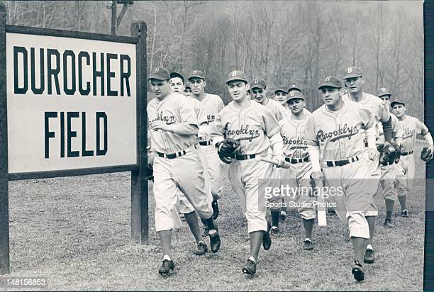 Brooklyn Dodgers photographed during Spring Training at Durocher Field