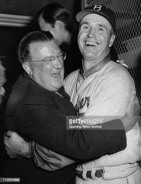 Brooklyn Dodgers president Walter O'Malley and manager Walter Alston celebrate on Oct 12 1955 after the Dodgers beat the New York Yankees in the 1955...