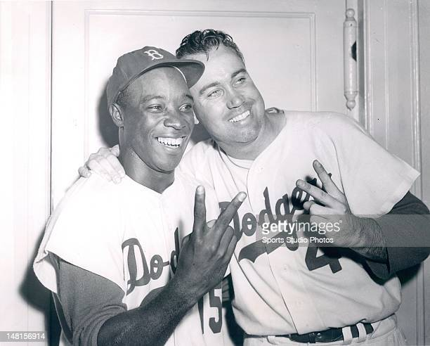 Brooklyn Dodgers Sandy Amoros and Duke Snider pose for a portrait on September 30 1956