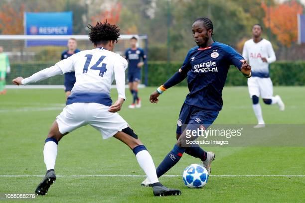 Brooklyn Lyons Foster of Tottenham Hotspur U19 Sekou Sidibe of PSV U19 during the match between Tottenham Hotspur U19 v PSV U19 at the Tottenham...