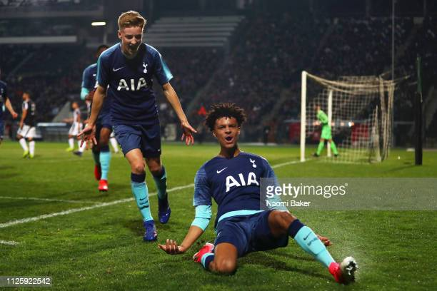 Brooklyn LyonsFoster of Tottenham Hotspur celebrates after he scores his sides first goal during the UEFA Youth League match between PAOK and...