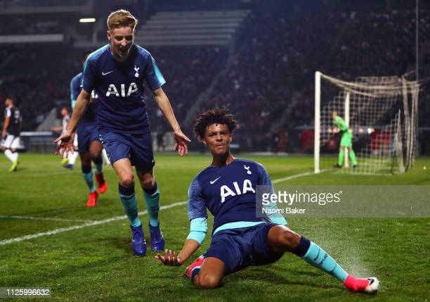 Brooklyn LyonsFoster of Tottenham Hotspur celebrates after scoring his sides first goal during the UEFA Youth League match between PAOK and Tottenham...