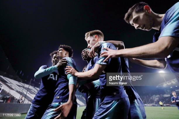 Brooklyn LyonsFoster of Tottenham Hotspur celebrates with his teammates after he scores his sides first goal during the UEFA Youth League match...